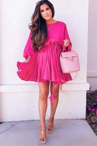 Pink Dress With Long Sleeves #maternityshortdress