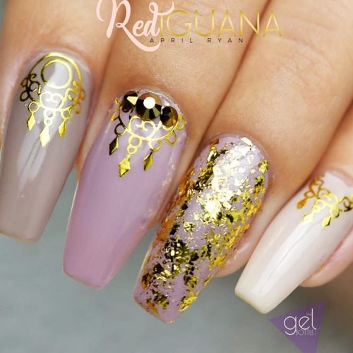 Nude Nails Designs with Gold Foil Picture 4