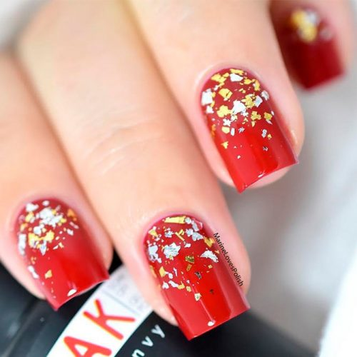 Stunning Gold Foil Ombre For Red Nail