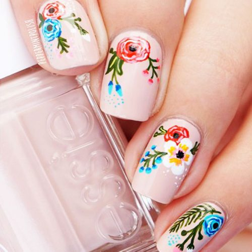 Nude Floral Mani Picture 1