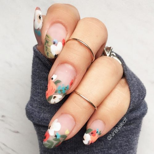 Juicy Floral Nail Art #matte