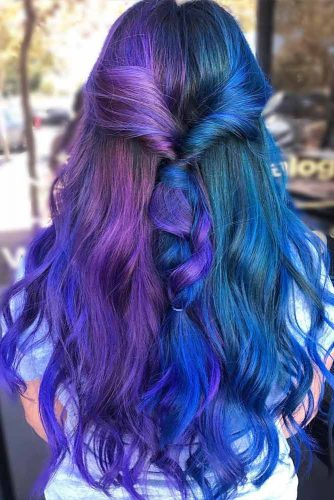 Half Blue And Purple Hairstyle For Long Hair #halfdyedhair #halfuphalfdownhairstyle #longhair