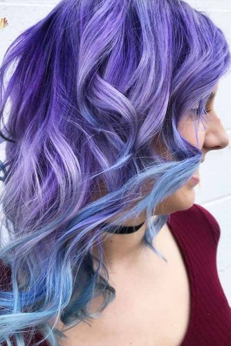 Pastel Blue And Purple Coloring For Medium Hair #wavyhairstyle #mediumlengthhair