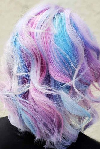 Light Blue And Purple Color On Blonde Hair #pastelhair #wavyhairstyle