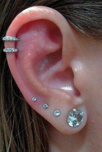 Cartilage Piercings With Lobe And Upper Lobe #helixearpiercings #lobepiercing