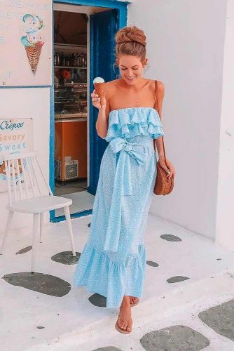 Long Blue Ruffle Dress #longdress #summerdress