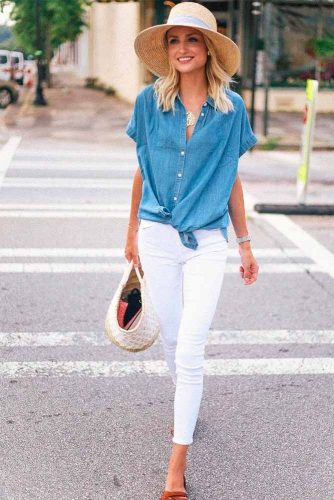 Jeans Shirt And White Trousers #jeansshirt