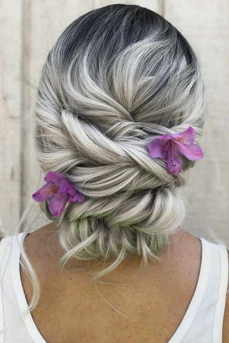 Twisted Updo With Flowers To Accentuate Your Beauty #blondehair #floralaccessory