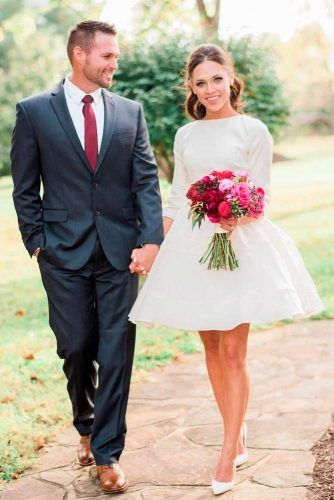 Simple Satin Short Dress With ¾ Sleeves #satinweddingdress #simpleweddingdress