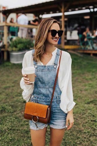 Overall Shorts With Billowy Top #billowytop