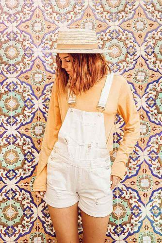 Short Overalls With Long Sleeved Shirt And Hat #whiteoveralls