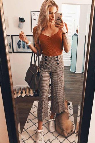 Crop Wide Leg Pants With Simple Top Outfit #cropplaidpants