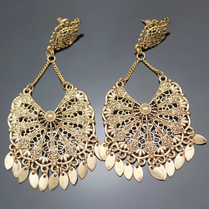 Chandelier Earrings Vintage Gold Aztec Mexico Art Deco Filigree Calendar Drop Bali Dance Dangle