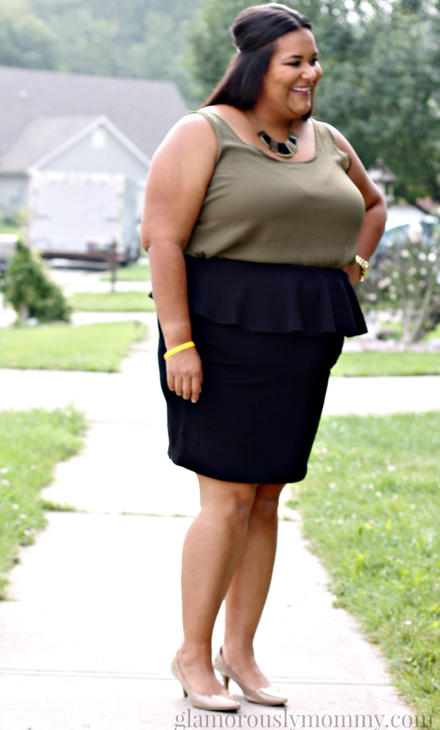 Plus size black peplum pencil skirt