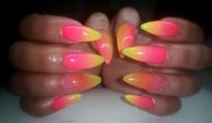 Stiletto nail design yellow and pink nail design