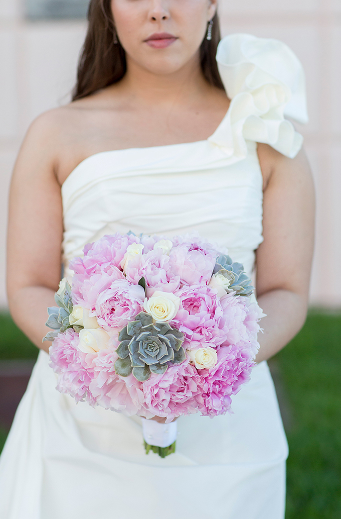 pink peony and succulent bouquet | Captured Photography by Jenny