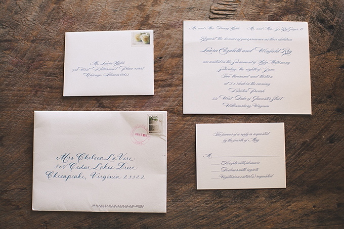 blue and white calligraphy invite | Bit of Ivory Photography