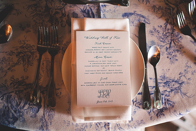 classic toile place setting and calligraphy menu | Bit of Ivory Photography