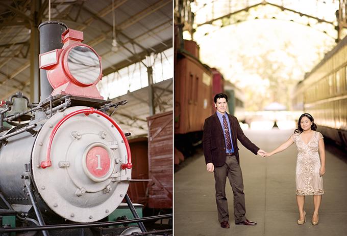 art deco train engagement session | Rebecca Yale Portraits