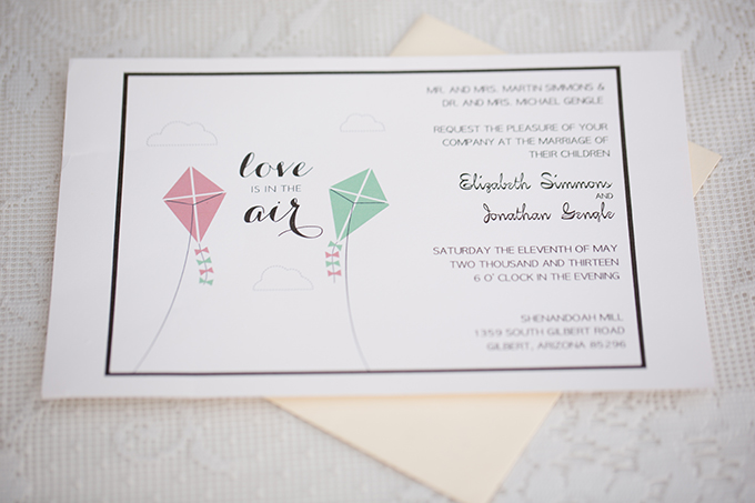 kite wedding invite | Amy & Jordan Photography