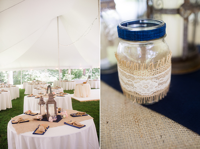 burlap and lace centerpieces | Brianna Wilbur Photography