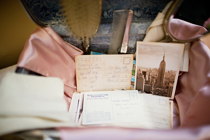 vintage postcard guest book | Jen & Chris Creed | Glamour & Grace