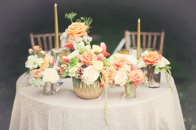 dreamy orange centerpiece | Christine Sara Photography | Glamour & Grace