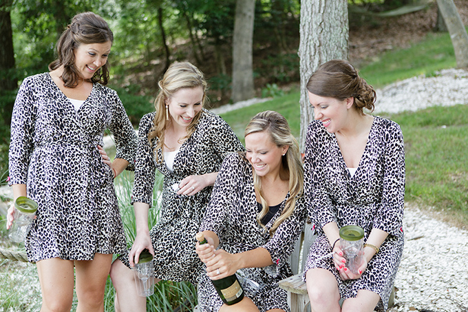 bridesmaids in leopard robes | David Abel Photography | Glamour & Grace