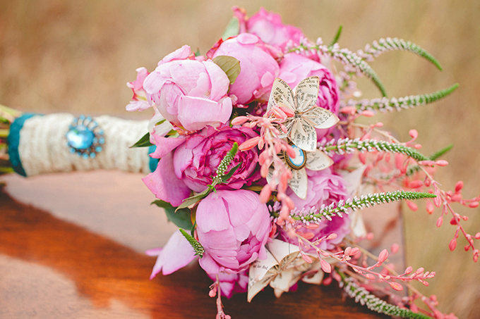 pink peony and paper floewr bouquet | Denise Nicole Photography | Glamour & Grace