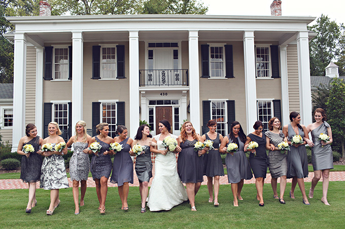 mismatched gray bridesmaids | j.woodberry photography | Glamour & Grace