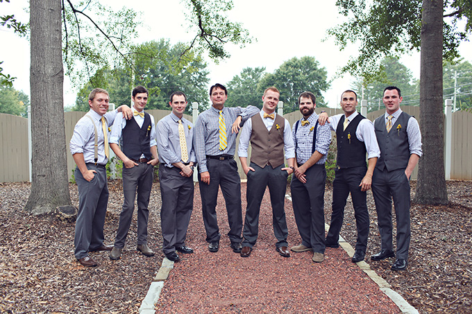 yellow and gray groomsmen | j.woodberry photography | Glamour & Grace