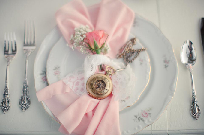 pocket watch place setting | Greer G Photography | Glamour & Grace