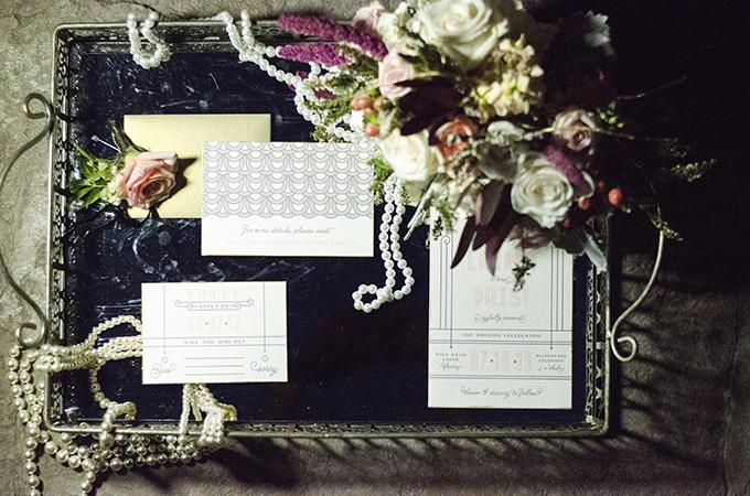 art deco wedding invitations | Green Blossom Photography | Glamour & Grace
