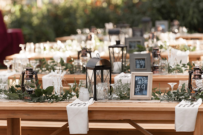 rustic DIY long table centerpieces | K and K Photography | Glamour & Grace