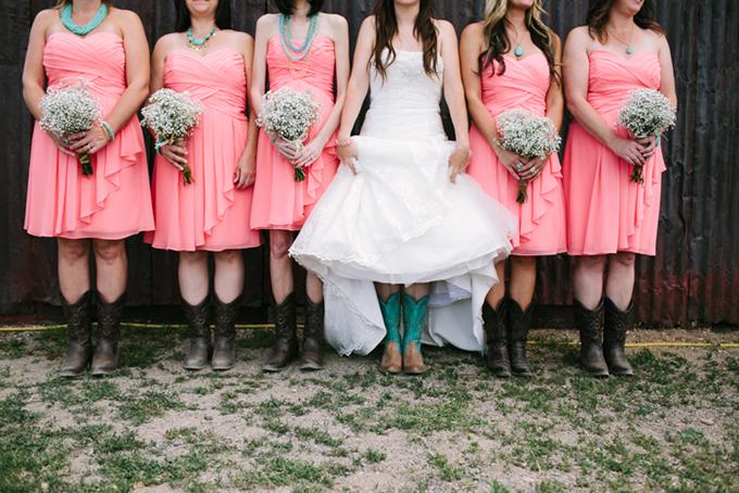 coral and turquoise bridesmaids | Joe+Kathrina | Glamour & Grace