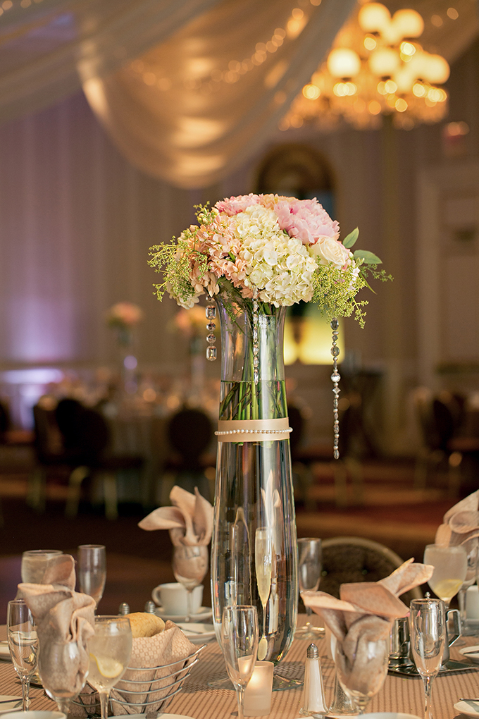 glam blush and white centerpieces | Erin Johnson Photography | Glamour & Grace