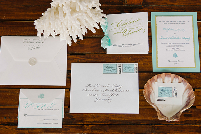 seafoam and white invitation suite | dear wesleyann | Glamour & Grace