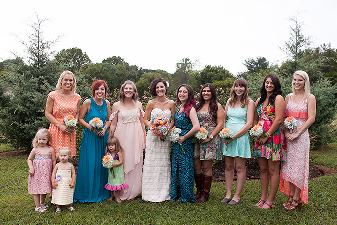 colorful mismatched bridesmaids | Katherine Stinnett Photography | Glamour & Grace