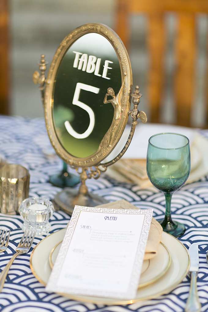 vintage mirror table number | Mary Fields Photography | Glamour & Grace