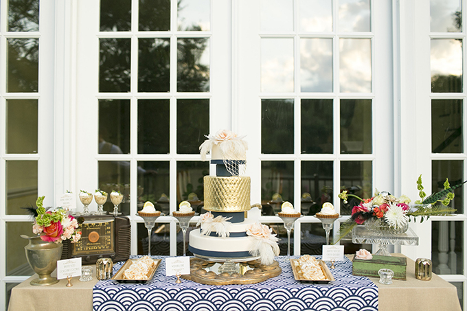 art deco dessert table | Mary Fields Photography | Glamour & Grace