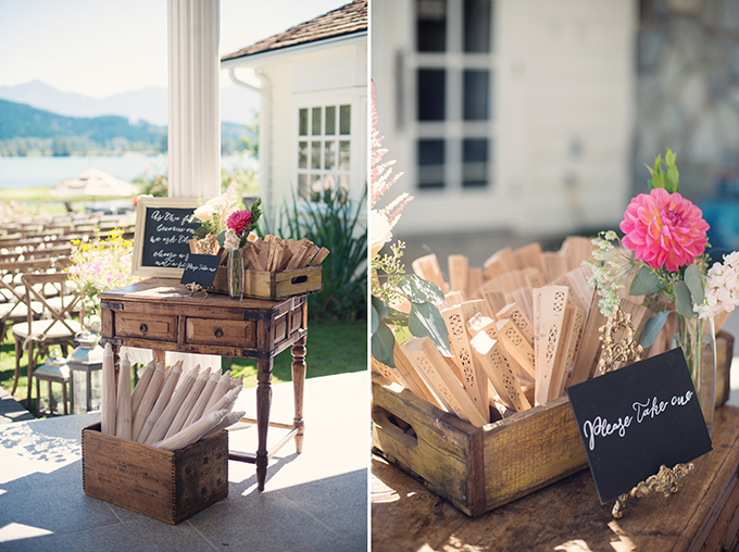 fans and parasols for guests | Melissa Gidney Photography | Glamour & Grace