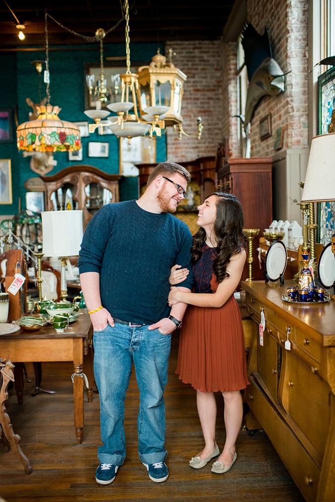 antique store engagement session | Lauren W Photography | Glamour & Grace