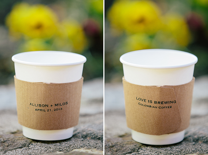 custom stamped coffe sleeves | ashley tingley photography | Glamour & Grace