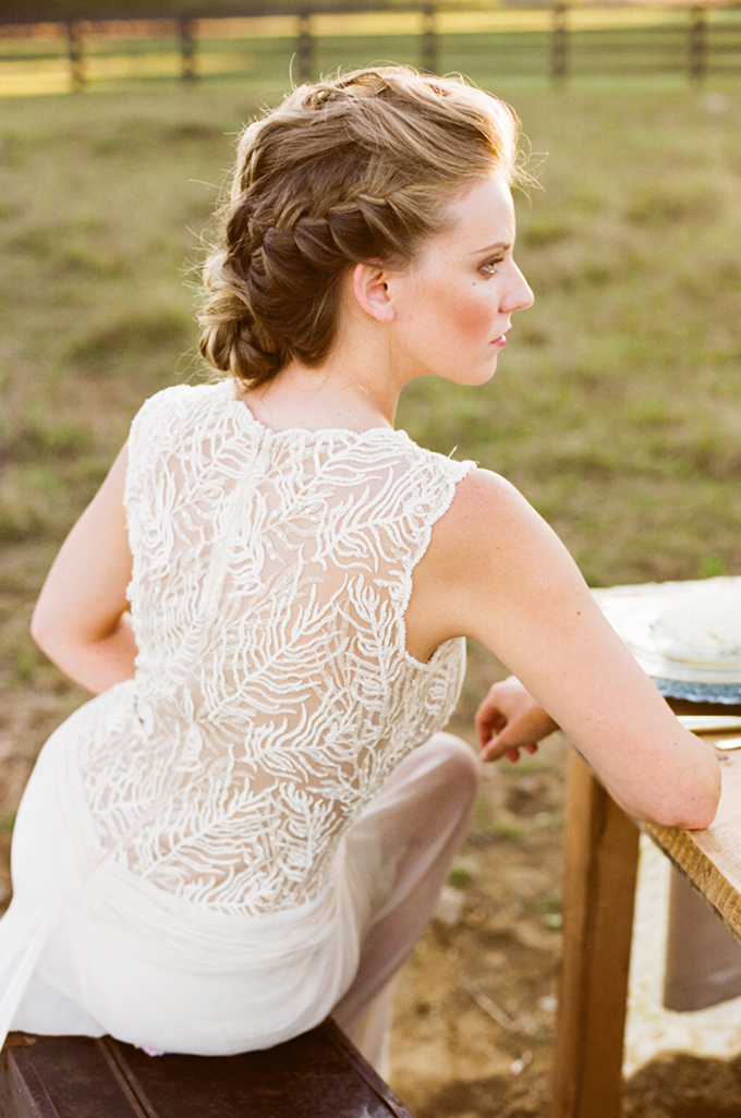 braided updo and BHLDN gown | Jenna Henderson, Photographer | Glamour & Grace
