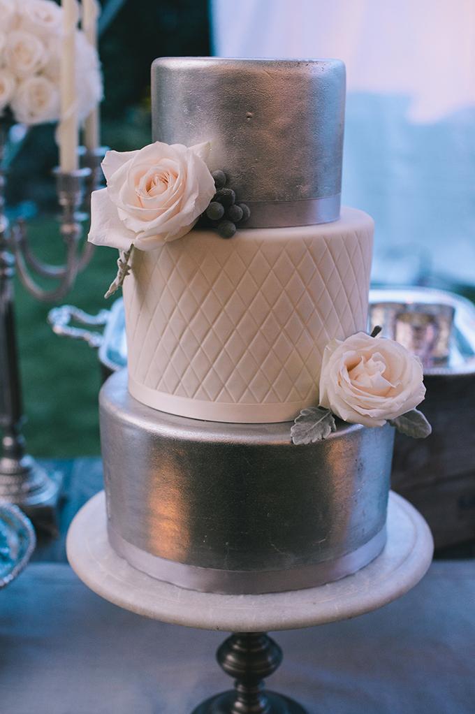 silver cake | Katie Slater Photography | Glamour & Grace