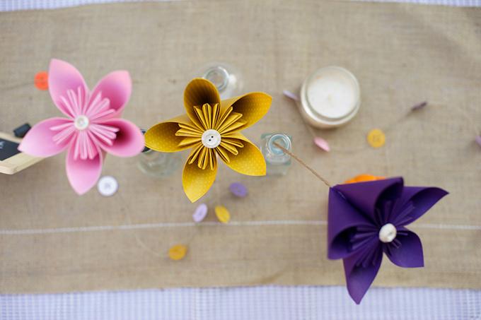 paper flower centerpieces | D'Avello Photography | Glamour & Grace