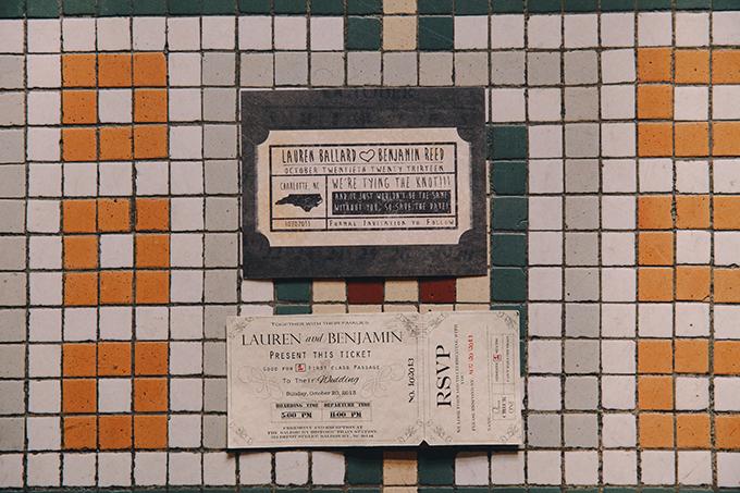 train ticket invitation   Sara Bee Photography   Glamour & Grace