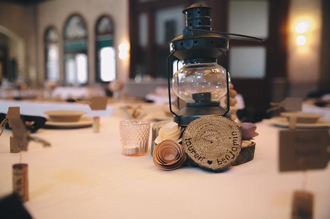 rustic lantern centerpiece   Sara Bee Photography   Glamour & Grace
