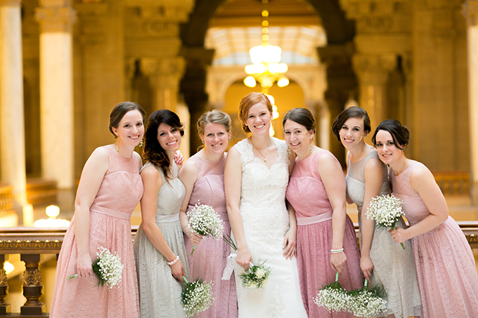 blush and gray bridesmaids   Jennifer Van Elk Photography   Glamour & Grace