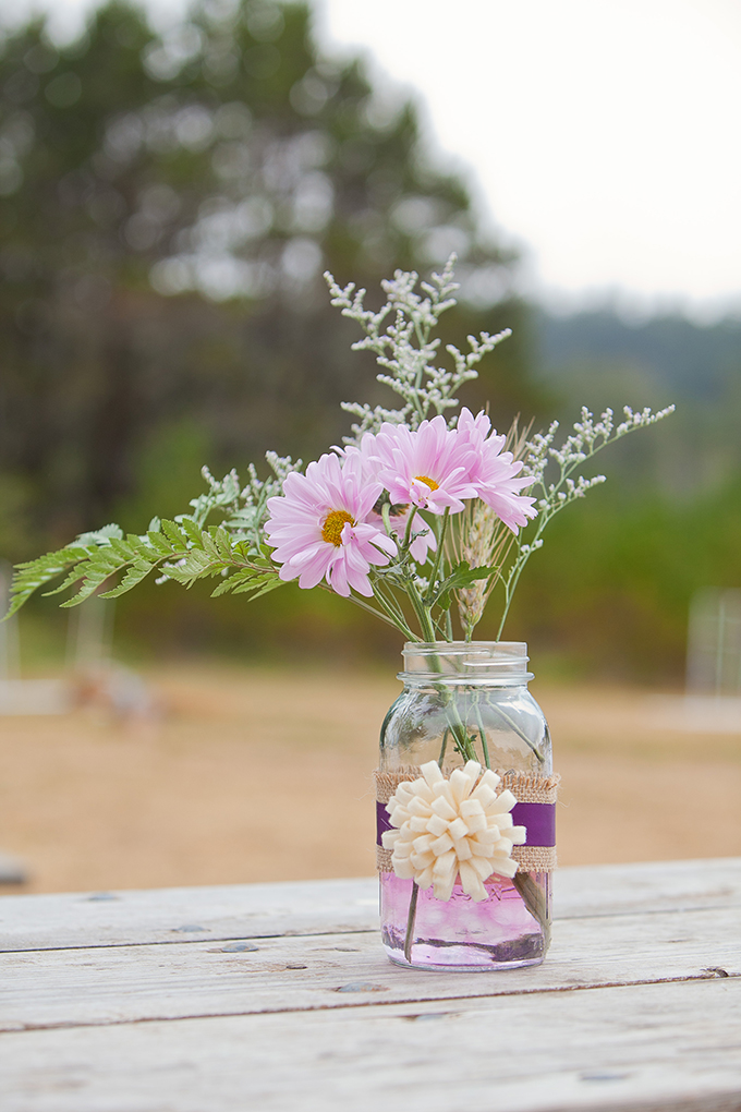 rustic purple centerpieces | Jamie Zanotti Photography | Glamour & Grace